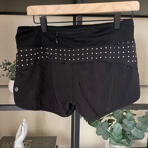 Lululemon running shorts 6 black white polka dot